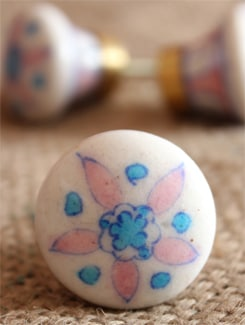 White And Pink Floral Ceramic Knobs (Set Of 6) - NEERJA
