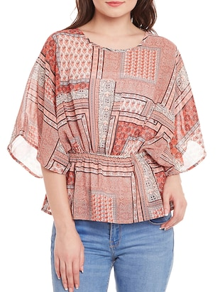 multicolored printed georgette regular top