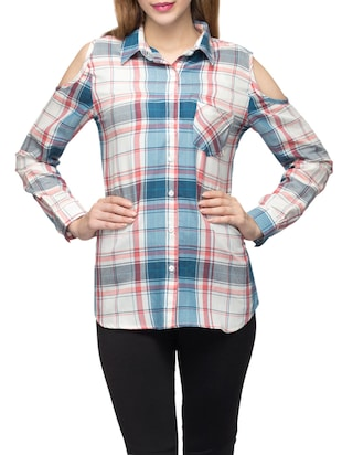multicolored checkered cotton regular shirt