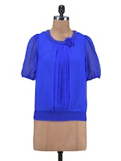 Blue Poly Georgette Plain Beaded Top - By