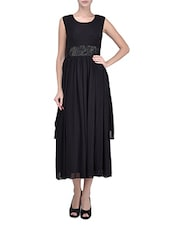Black Gathered Polynet Maxi Dress With Sequined Waist - By