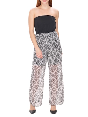 black Printed polyester full leg jumpsuit