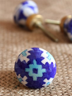 Blue Patterned Ceramic Knobs (Set Of 6) - NEERJA