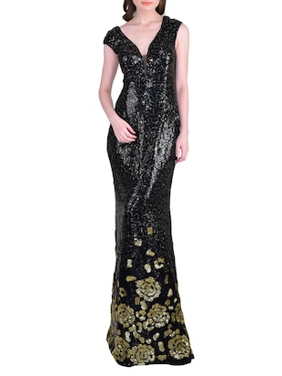 black sequined spandex gown dress