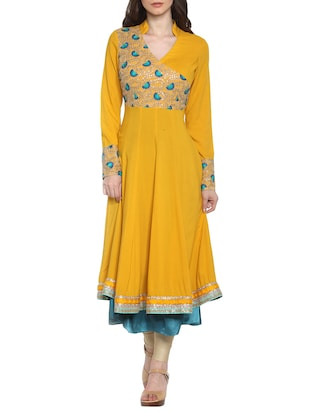 Yellow embroidered party wear rayon kurta