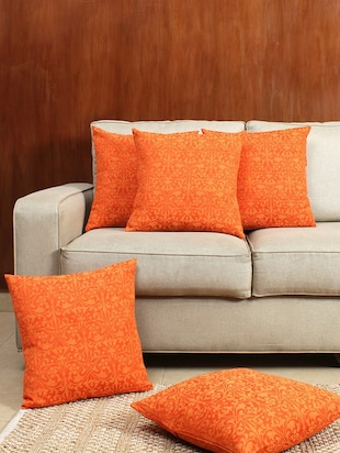 House This The Carved Wood 100% Cotton Set Of 5 Cushion Covers-Orange