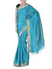 Aqua Blue Silk Zari Saree - By