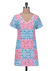 Blue And Pink Floral Printed Cotton Kurti - By