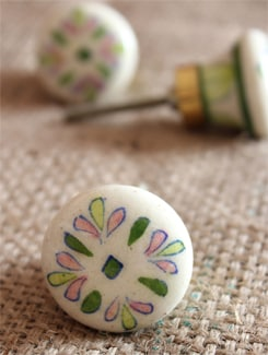 Pink & Green Floral Ceramic Knobs (Set Of 6) - NEERJA