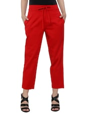 red khadi cotton trouser -  online shopping for Trousers