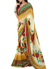 Multicolored Georgette Printed Saree -  online shopping for Sarees
