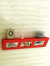 Red MDF Photo Frame Wall Shelf - By