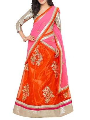 orange silk blend flared lehenga