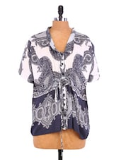 White And Grey Viscose Print Tunic - By