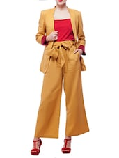 Solid mustard cotton culottes -  online shopping for Trousers