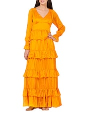 Solid yellow tiered maxi dress -  online shopping for Dresses