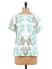 Green And White Polyester Printed Shirt - By