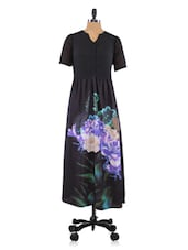 Black Floral Print Polyester Dress - By