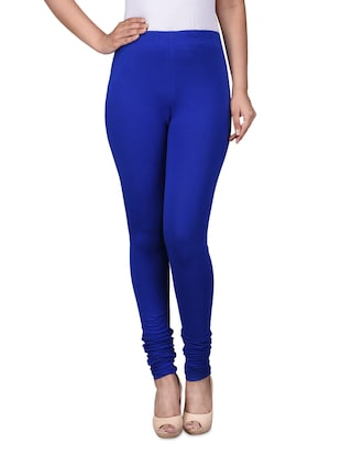 Solid cobalt blue cotton spandex knit leggings