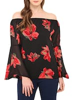 black floral printed georgette top -  online shopping for Tops