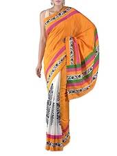 Orange Printed Bhagalpuri Silk Saree - By