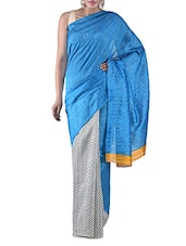 White Printed Bhagalpuri Silk Saree - By