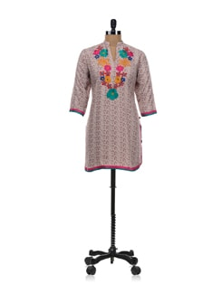 Beige Embroidered Kurta - SHREE