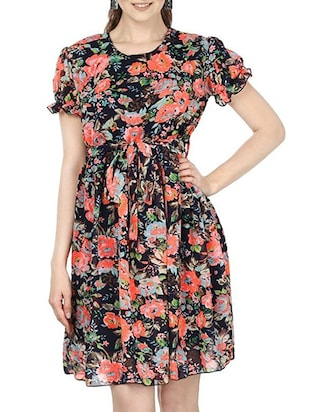 multi colored georgette belted dress