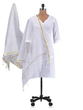 White Chandheri Silk Plain Dupatta - By