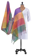 Multicolored Chandheri Silk Plain Dupatta - By