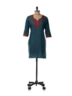 Black And Red Printed Kurta - SHREE