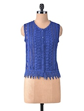 Royal Blue Polygeorgette Laced Top - By