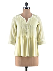 Lemon Yellow Poly Georgette Pin Tuck Top - By