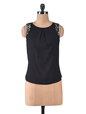 Black Polycrepe Sequined Top - By