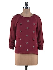 Maroon Poly Georgette Sequined Work Top - By