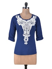 Dark Blue Top With Lace Applique - By