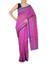 Pink Cotton Art Silk And Zari Saree - By