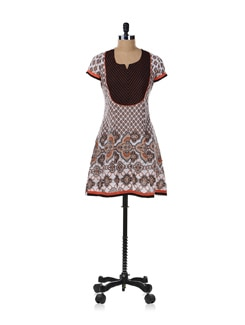 Orange And Black Printed Kurta - SHREE