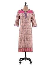 Printed Pink Cotton Long Kurta - By