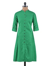 Green Jacquard Cotton A-Line Kurta - By