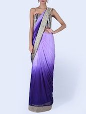 Shaded Purple Net Saree With Silver Border - By