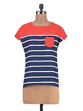 Navy Blue Polycrepe Printed T-Shirt - By