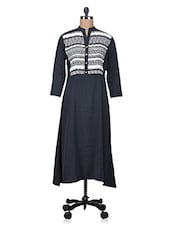 Black Crepe Kurta With Printed Yoke - By