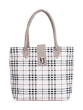 Multi synthetic leather check printed handbag -  online shopping for handbags