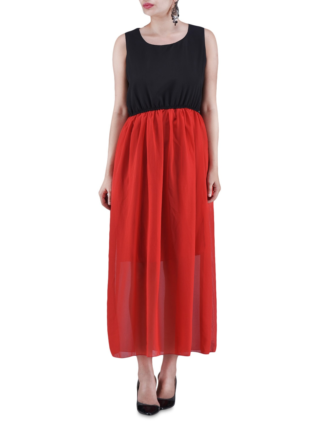 Black And Red Poly Georgette Maxi Dress - By