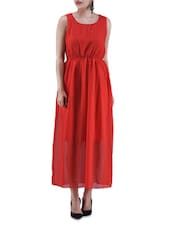 Red Poly Georgette Maxi Dress - By