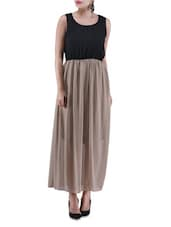 Black And Beige Poly Georgette Maxi Dress - By