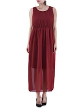 Maroon Poly Georgette Maxi Dress - By
