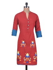 Red  Cotton Silk Embroidered Kurti - By