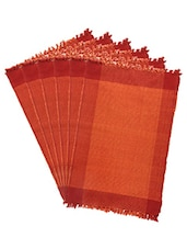 Dhrohar Hand Woven Cotton Table Mat - Pack Of 6 Mats - Orange - By